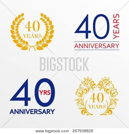 40 Years Anniversary Set. Anniversary Icon Emblem Or Label Collection. 40 Years Celebration And Cong