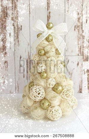 Isolated Shiny Christmas Tree In Gold On White Background.new Year, Christmas Background, Rustic Sty