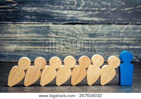 Leader Businessman Stops Falling Dominoes. Strong And Reliable Boss. Difficulties In Business And Th