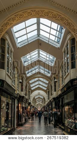 London / Uk - September 20 2018: The Burlington Arcade, A Covered Shopping Arcade, That Runs Behind