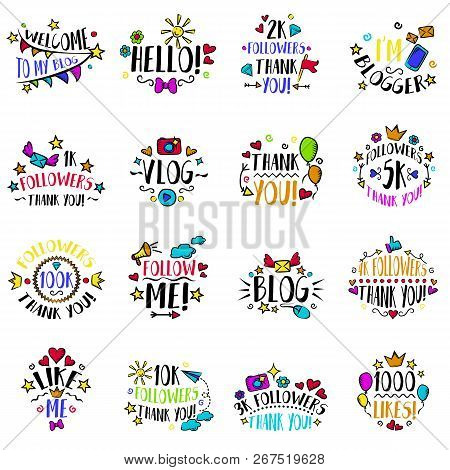 Vlog And Blog Design Concept Set, Blogging Badges Vector Illustrations. Screen Saver With Text For B