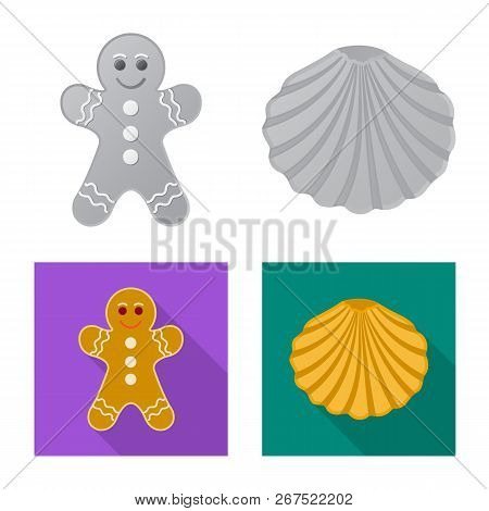 Isolated Object Of Biscuit And Bake Symbol. Collection Of Biscuit And Chocolate Vector Icon For Stoc
