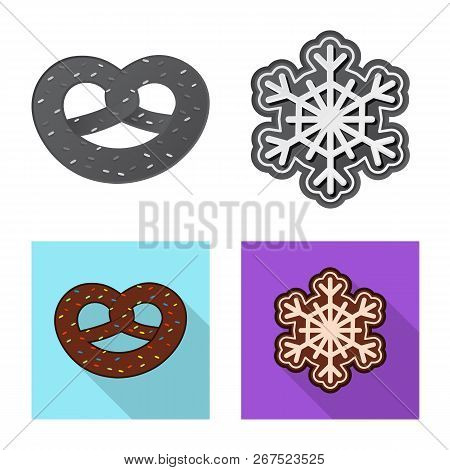 Isolated Object Of Biscuit And Bake Icon. Collection Of Biscuit And Chocolate Stock Vector Illustrat