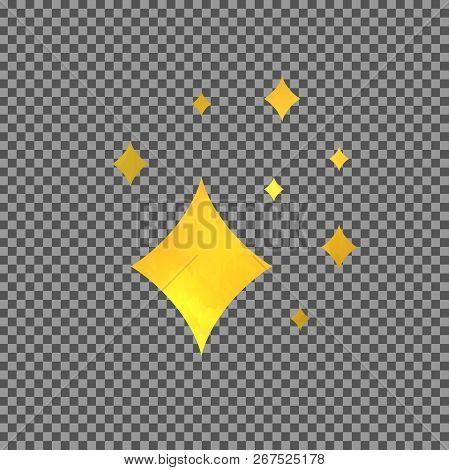 Vector Shine Golden Symbol, Isolated On Transparent Background Design Elemet, Comics Effect.