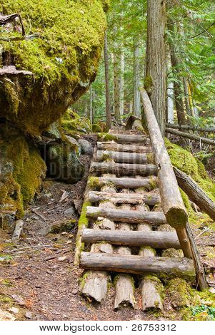 Stairs through a huge rock on Baden-Powell Trail, North Vancouver, Canada.