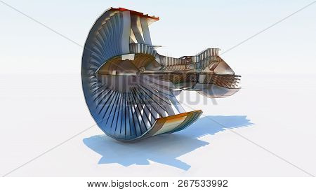 Jet Engine Aircraft. Computer Illustration In The Style Of Hand Drawing. 3d Rendering.