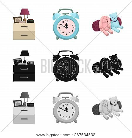 Vector Illustration Of Dreams And Night Sign. Set Of Dreams And Bedroom Vector Icon For Stock.