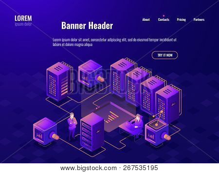 Big Data Processing Isometric Icon, Server Room, People Working In The Data Center, Cloud Data Stora