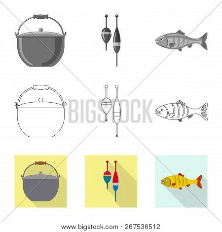 Isolated Object Of Fish And Fishing Logo. Collection Of Fish And Equipment Stock Symbol For Web.