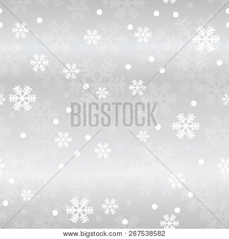 Silver Christmas Snowflakes Seamless Pattern. Great For Winter Holidays Wallpaper, Backgrounds, Invi