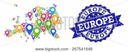Compositions Of Colorful Map Of Europe And Grunge Stamp Seal. Mosaic Vector Map Of Europe Is Formed