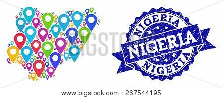 Compositions Of Colorful Map Of Nigeria And Grunge Stamp Seal. Mosaic Vector Map Of Nigeria Is Creat