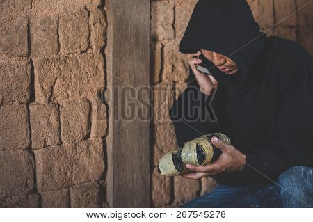 Drug Dealers Use The Phone To Contact The Customer, Drug Trafficking, Crime, Addiction And Sale, Cop
