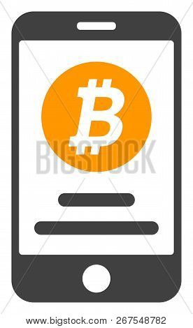Mobile Bitcoin Account Icon On A White Background. Isolated Mobile Bitcoin Account Symbol With Flat