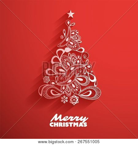 Greeting Card with Christmas Tree, Abstract Background for Holidays, Creative Design Illustration