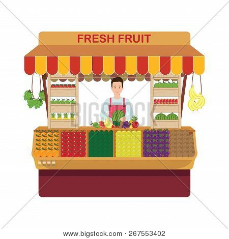 Fruit And Vegetables Retail Business Owner Working In His Own Store. Local Farmer Shop Flat Style Ve