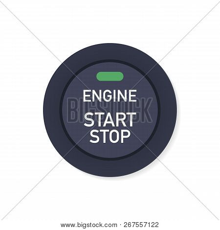 Engine Starting And Stopping System. Engine Start. The Person Presses The Finger On The Start And St
