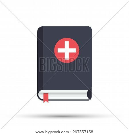 Medical Book. Vector Illustration, Icon Flat Style Design With Long Shadow. Medical Reference Books.