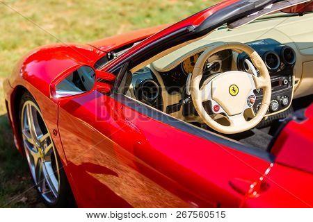 Kerpen, Germany - August 19, 2018: View Of A Ferrari Sports Car With Cockpit. Ferrari Is An Italian
