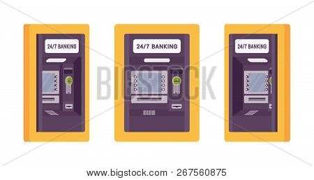 Atm Built In Wall, Yellow Color. Automated Teller Machine, Banking Service To Perform Safe Financial