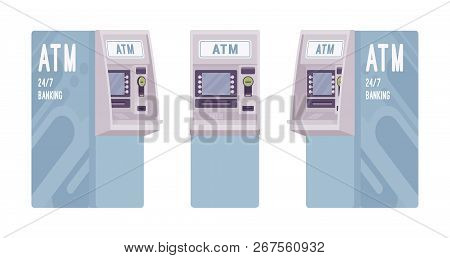 Automated Teller Machine In A Light Blue Color. Free-standing Atm For Customers, Electronic Banking
