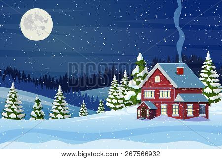 Suburban House Covered Snow. Building In Holiday Ornament. Christmas Landscape Tree Spruce, Fence. H
