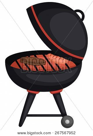 A Vector Of A Cute Barbeque Grill With Patty Inside