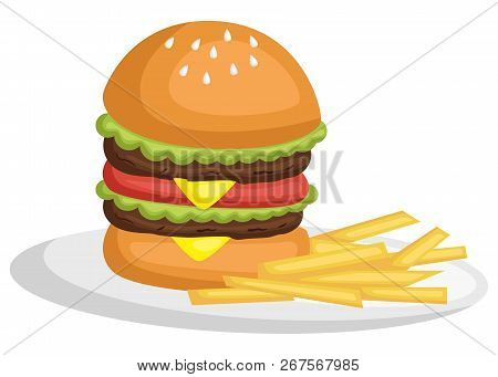 A Vector Of A Burger And Fries