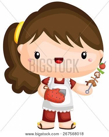 A Vector Of A Girl With A Barbeque Stick
