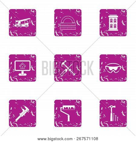 Edifice Icons Set. Grunge Set Of 9 Edifice Vector Icons For Web Isolated On White Background