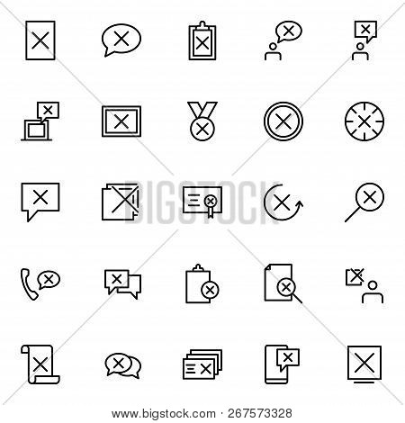 Set Of Disapprove Line Icons. Outline Illustration Of 25 Icons