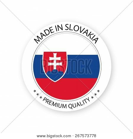 Modern Vector Made In Slovakia Label Isolated On White Background, Simple Sticker With Slovak Colors