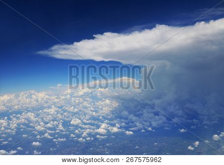 Storm Cloud Viewed From Airplane At High Altitude Level