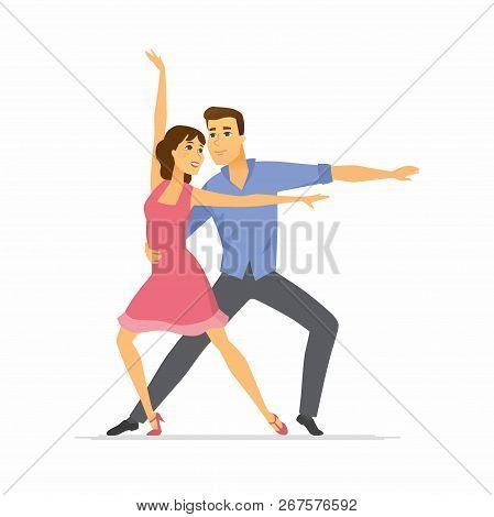 Hustle Dancers - Cartoon People Characters Colorful Illustration