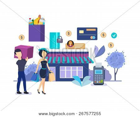 Shopping In Supermarket. Process Buying Goods In Store, Security Payments.
