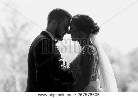 Gorgeous Bride And Stylish Groom Silhouettes At Window Light. Sensual Wedding Couple Embracing. Roma