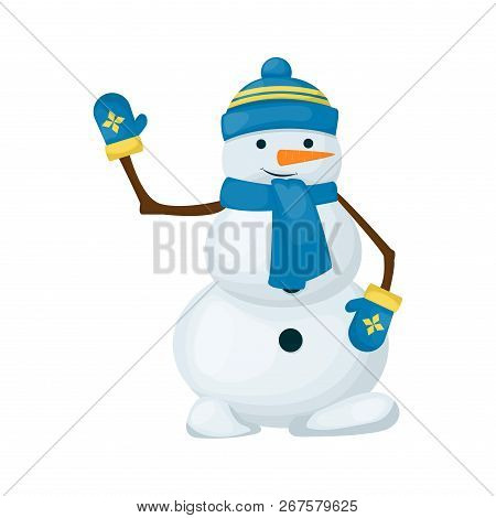 Snowman Winter Merry Christmas Character Isolated On White Background Vector Illustration. Cute Snow