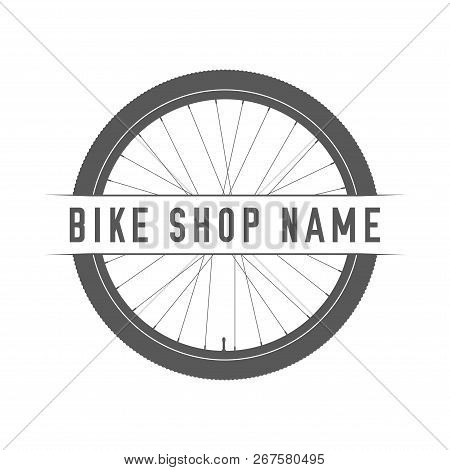 Bikes Shop Emblem. Design Element For Bike Shop Or Advertising Banner. Bicycle Wheel Silhouette And