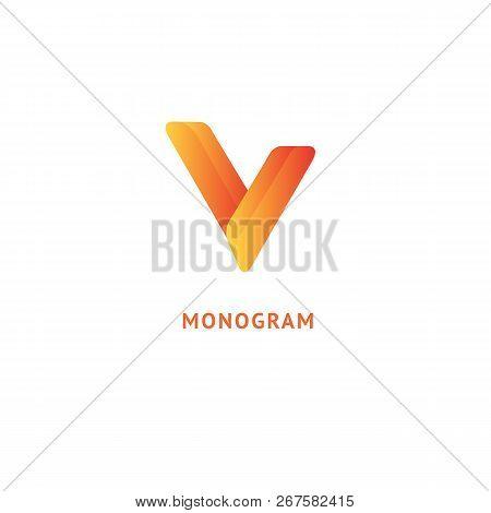 Monogram Design Elements, Graceful Template. Calligraphic Elegant Logo Design. V Logo Line Art Monog