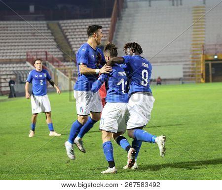 Vicenza, Vi,  Italy - October 15, 2018: Football Match Italy Vs Tunisia Under 21 At Menti Stadium. E