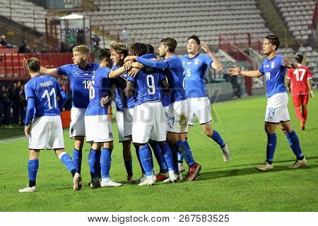 Vicenza, Vi,  Italy - October 15, 2018: Football Match Italy Vs Tunisia Under 21 At Menti Stadium.it