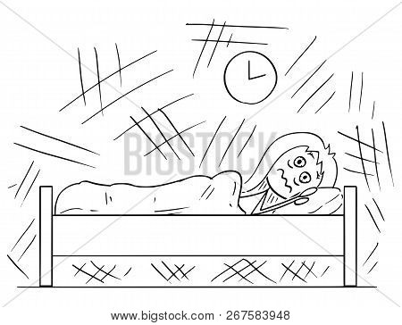 Cartoon Stick Drawing Conceptual Illustration Of Woman Lying In The Bed And Unable To Sleep Because