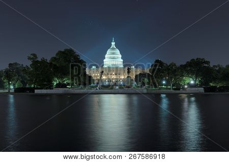 Washington Dc, Us Capitol Building At Night