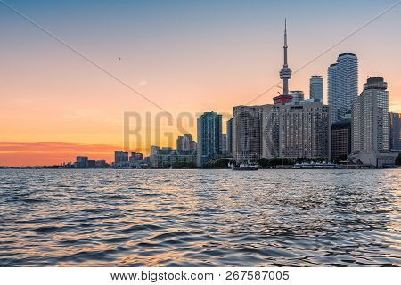 Toronto City Skyline At Sunset - Toronto, Ontario, Canada.