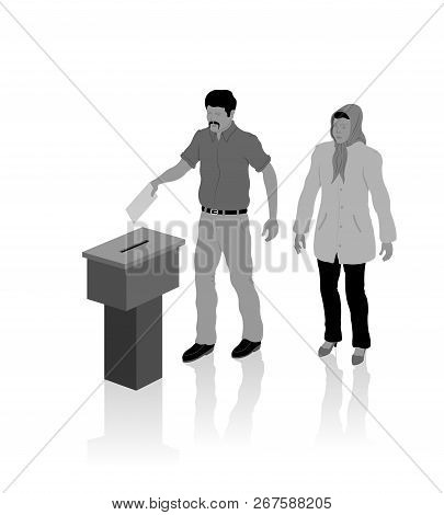 Nationalist Muslim Voters Are Voting For Election With Ballot Box. All The Objects, Shadows And Back