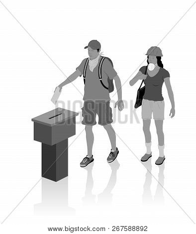 Protest voters are voting for election with ballot box. All the objects, shadows and background are in different layers. poster