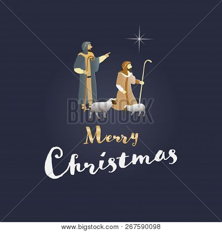 Christmas Time. The Shepherds In The Fields With Sheeps. Text : Merry Christmas