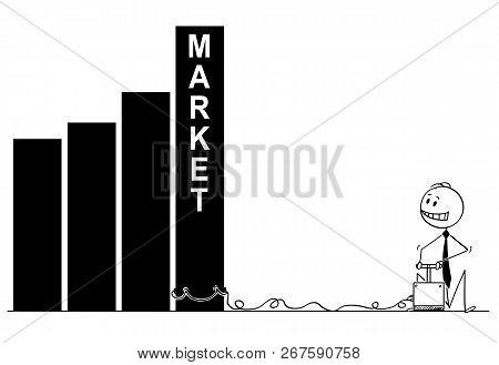 Cartoon Stick Man Drawing Conceptual Illustration Of Businessman Using Explosives And Detonator To D