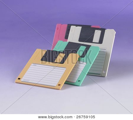Isolated stack of diskettes. Concept photo for technological obsolescence.