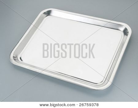 Silver serving tray.